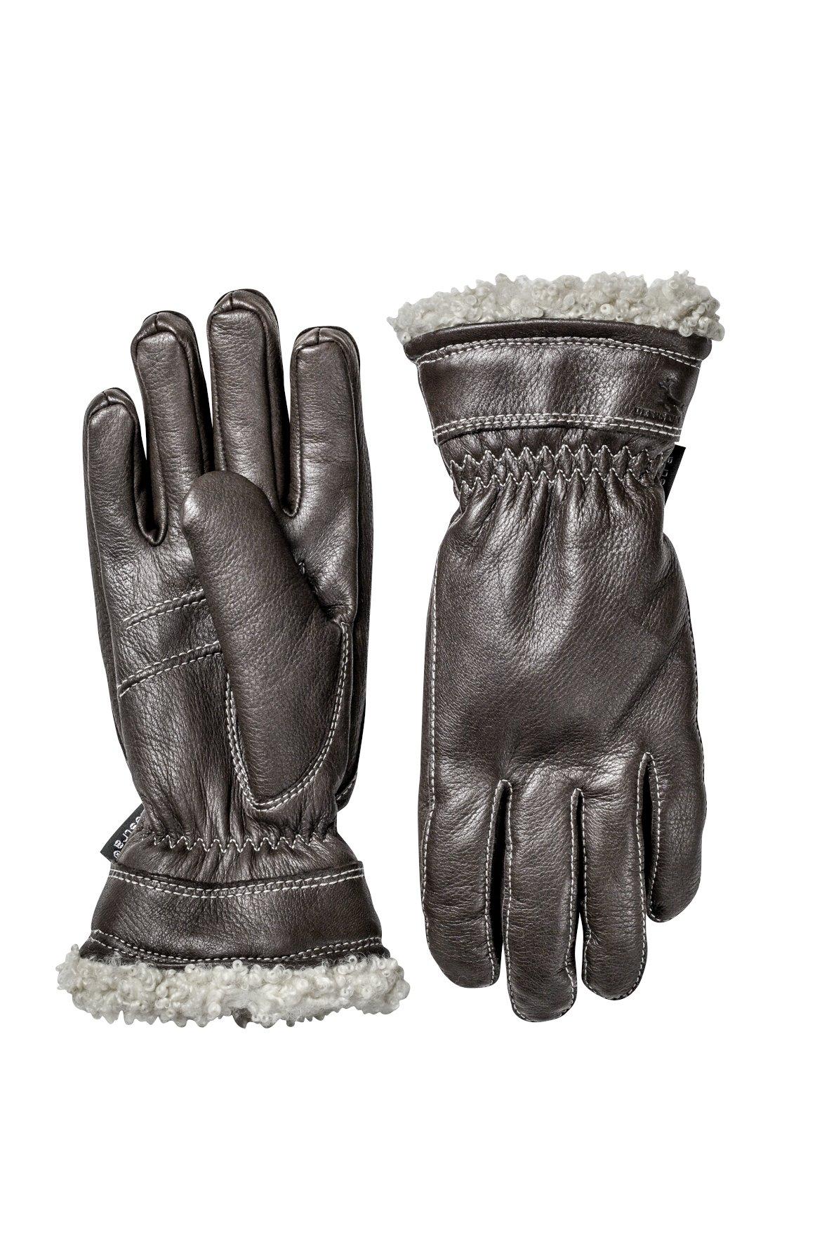 Hestra Deerskin Primaloft Leather Driving Gloves,Dark brown,7