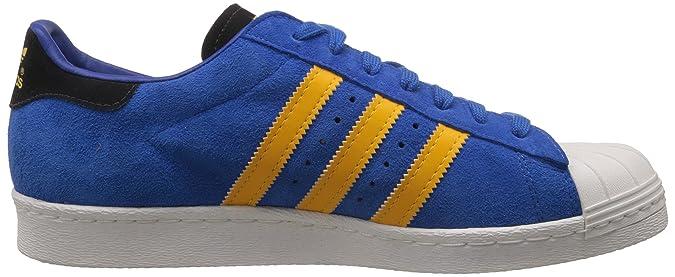 Adidas Superstar der 80er Jahre, Blau gelb weiÃ?, 10,5 M