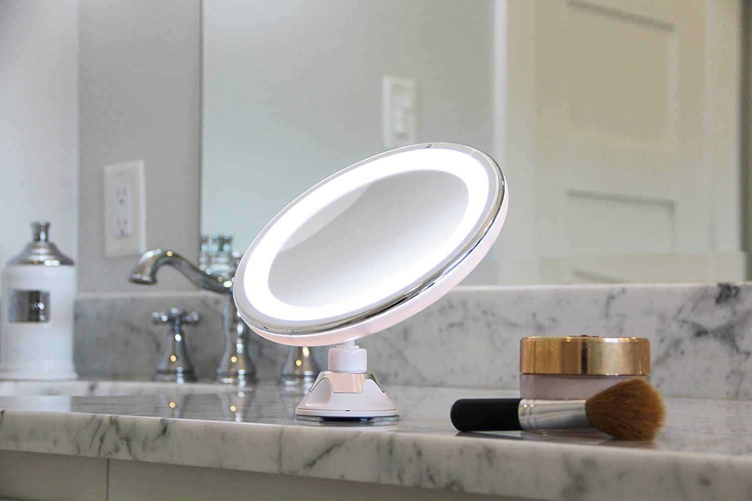 Amazon.com: LED Makeup Mirror - Adjustable 5x Magnification Lighted ...