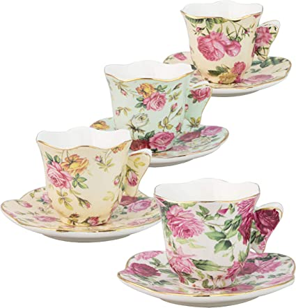 4 Assorted Color//Set Pink Lifattitude Style Coffee Bar Espresso Cup and Saucer Set of 4 Bone China Porcelain Tea Coffee Cup for Home Kitchen Tea Party 90ml