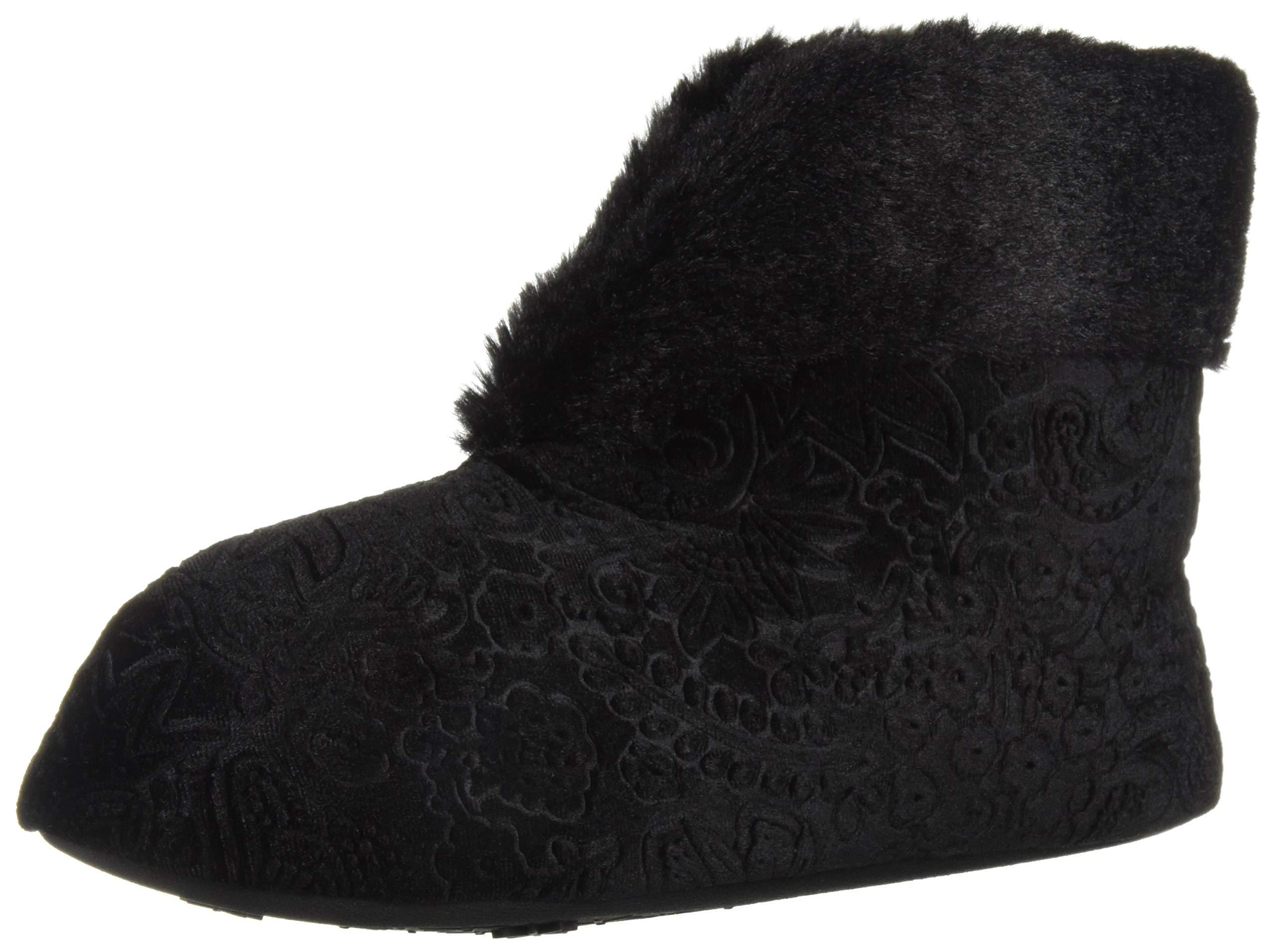 Dearfoams Women's Embossed Velour Bootie Slipper, Black, M Regular US