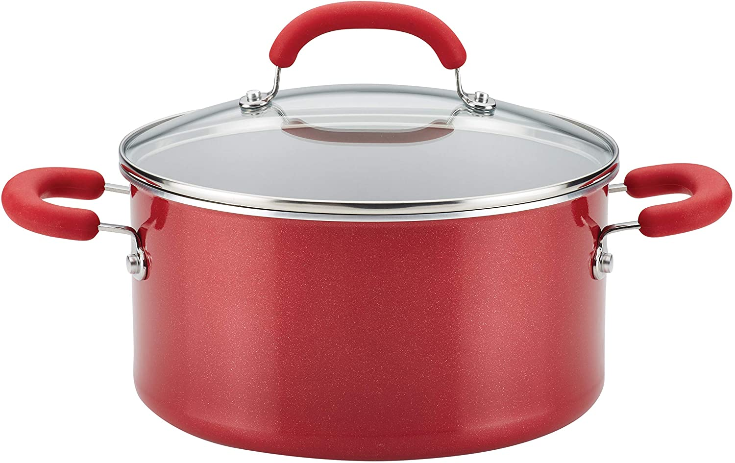 Rachael Ray 12164 Create Delicious Nonstick Stock Pot/Stockpot with Lid - 6 Quart, Red