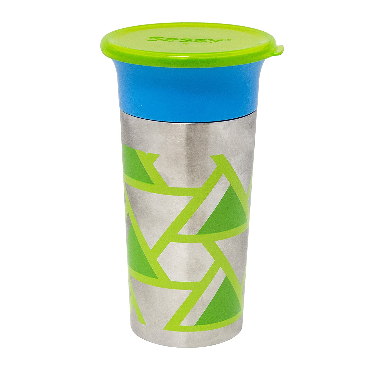 Sassy Stainless Steel 360 Grow-Up Spout Less Sippy Cup with Travel Lid, 9 oz, Blue/Green
