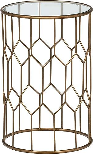 Amazon Brand Rivet Geometric Modern Glass and Metal Side End Table Stand