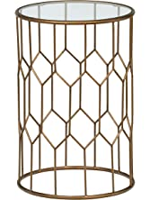 """Rivet Geometric Modern Glass and Metal End Table, 15.6"""" W, Gold Finish"""