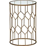 "Rivet Geometric Modern Glass and Metal End Table, 15.6"" W, Gold Finish"