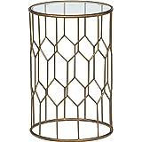 Rivet Geometric Modern Glass and Metal End Table, 15.6