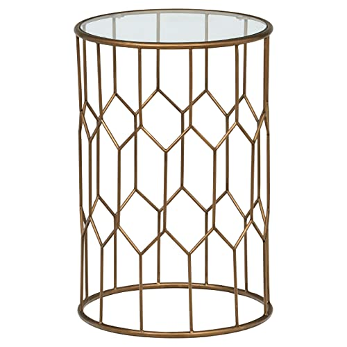 Rivet Geometric Modern Glass and Metal Side End Table Stand, 15.6 W, Gold Finish