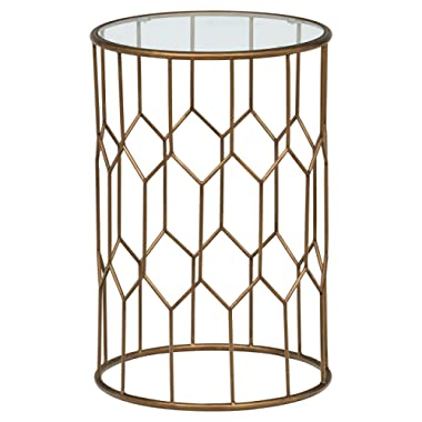 Rivet Geometric Modern Glass and Metal End Table, 15.6  W, Gold Finish