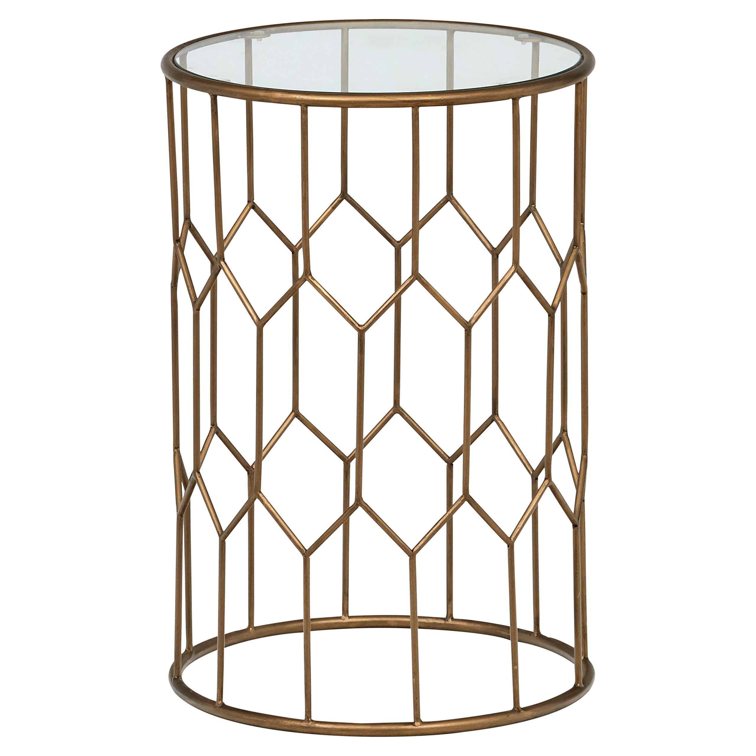 Rivet Geometric Modern Glass and Metal End Table, 15.6'' W, Gold Finish