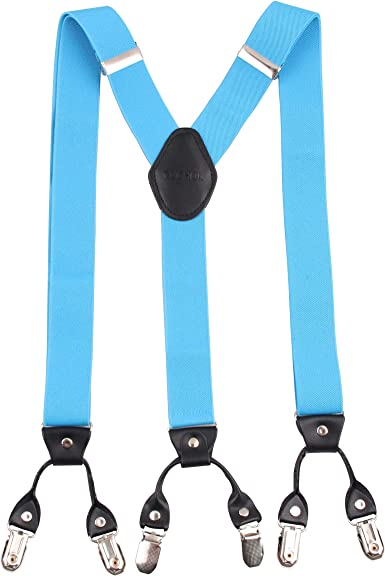 Braces MENS Suspenders NEW CLIP ON Adjustable ONE SIZE TURQUOISE BLUE