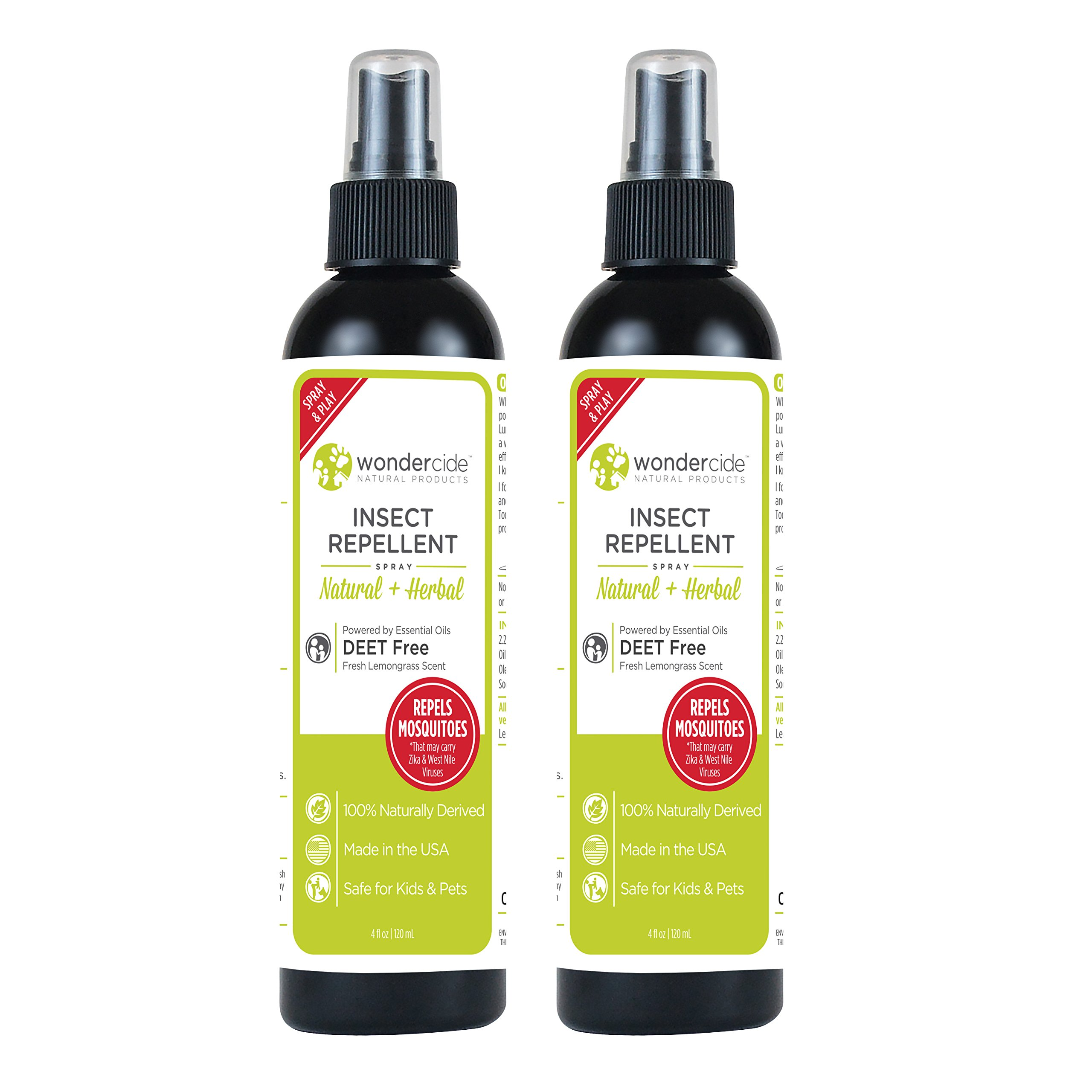 Wondercide Natural Deet Free Insect Repellent 4 oz Pack of 2 (Lemongrass)