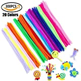 300pcs Pipe Cleaners 20 Colors Extra Long Reusable Chenille Craft Stems for DIY Art Craft, Kids Safe & Assorted Colors (6 mm x 12 Inch