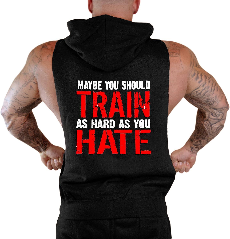 Mens Maybe You Should Train Sleeveless Zipper Hoodie