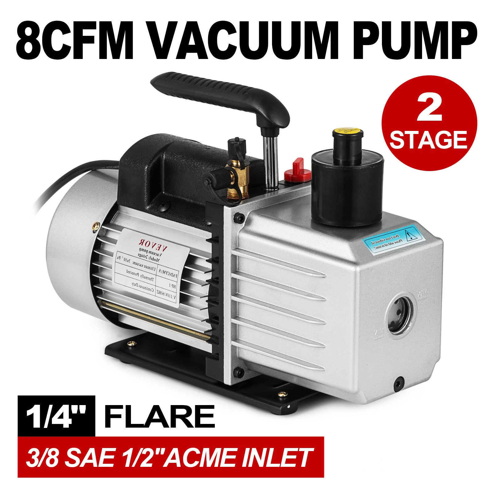 VEVOR Vacuum Pump 8CFM 1HP Two Stage HVAC Rotary Vane Vacuum Pump Wine Degassing Milking Medical Food Processing Air Conditioning Auto AC Refrigerant Vacuum Pump (2-Stage, 8CFM) by VEVOR (Image #2)