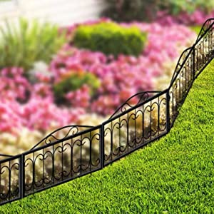 "Ethemiable Decorative Outdoor Rustproof Metal Garden Fence Panels Border for Patio Landscape Plant Flower Vegetable Bed Protective,Iron Animal Barrier Sections Folding Edge Fencing (28""x 28""x5 Panels)"