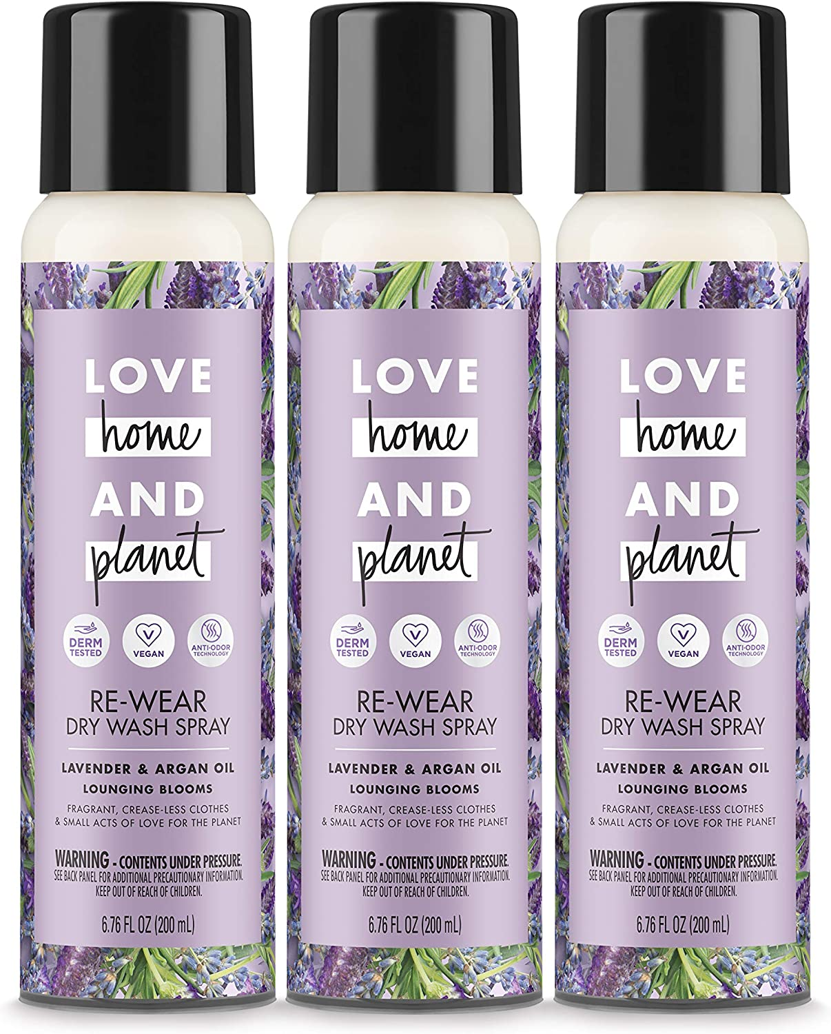 Love Home and Planet Dry Wash Spray Lavender & Argan Oil, 6.76 Fl Oz, Pack of 3