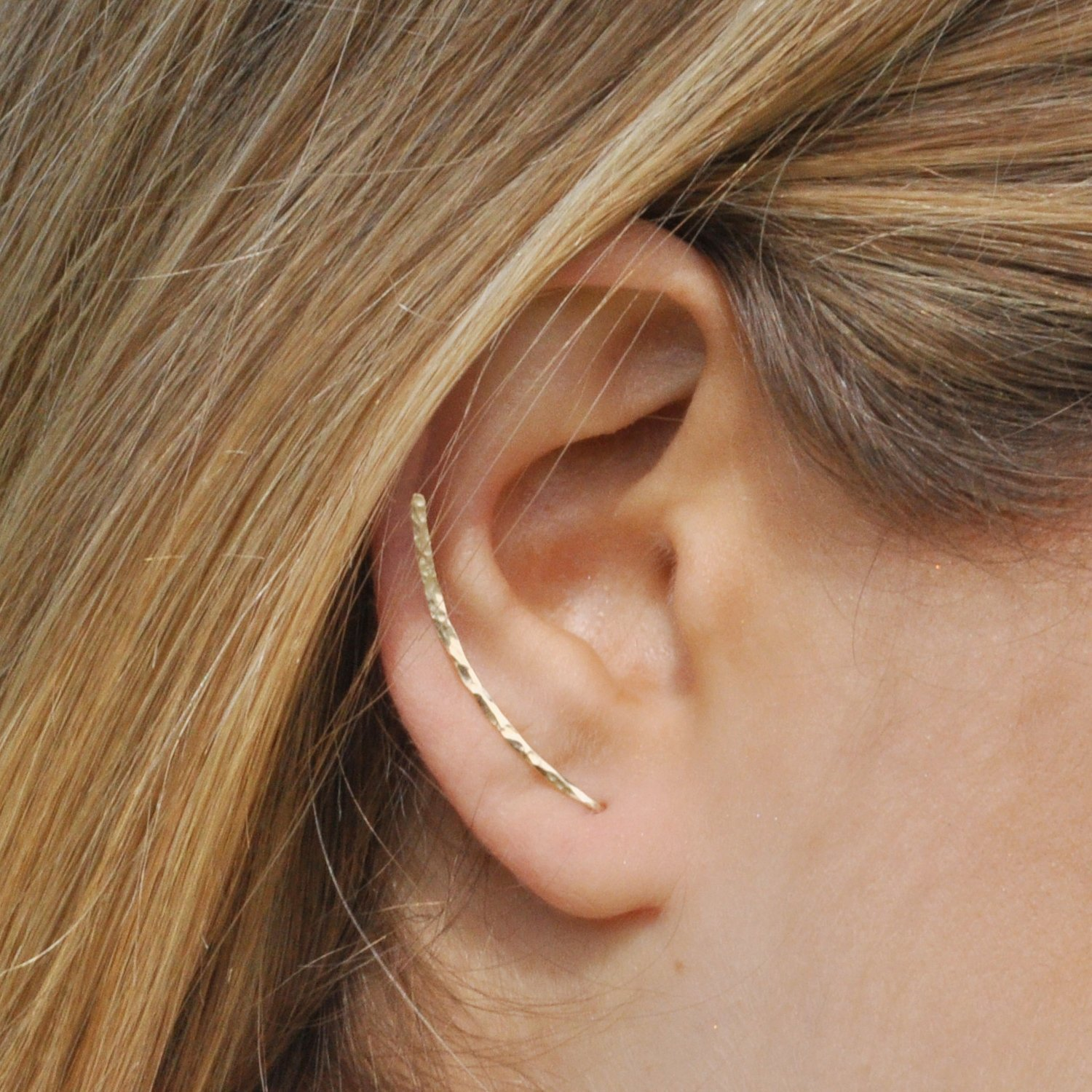 BenittaMoko Handcrafted Hammered Climber Earrings Ear Pins Crawlers Bar Earrings Ear Jackets Cuffs Gold Filled or Silver