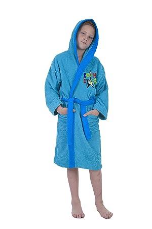 Secaneta - Albornoces para Niños. Albornoces Infantiles Bordados Colores. Mod. Rock Star (Chico 14 años): Amazon.es: Hogar