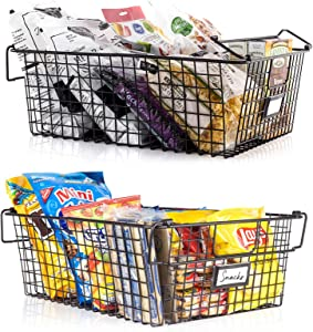 Gorgeous Stackable XXL Wire Baskets For Pantry Storage and Organization - Set of 2 Pantry Storage Bins With Handles - Large Metal Food Baskets Keep Your Pantry Organized