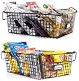Gorgeous Stackable XXL Wire Baskets For Pantry Storage and Organization - Set of 2 Pantry Storage Bins With Handles…