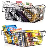 Gorgeous Stackable XXL Wire Baskets For Pantry Storage and Organization - Set of 2 Pantry Storage Bins With Handles - Large M