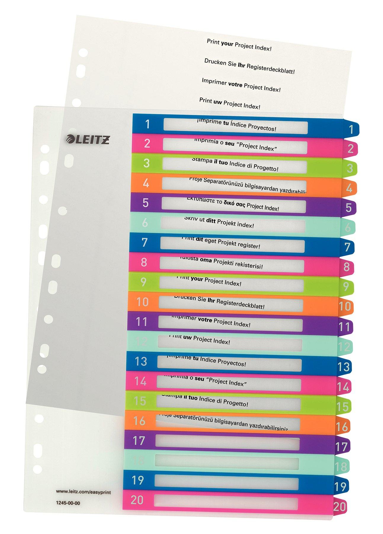 Leitz 1-20 Index, A4, PC Printable, Heavy Duty Plastic, Extra Wide, White/Multi-Coloured, Wow Range, 12450000
