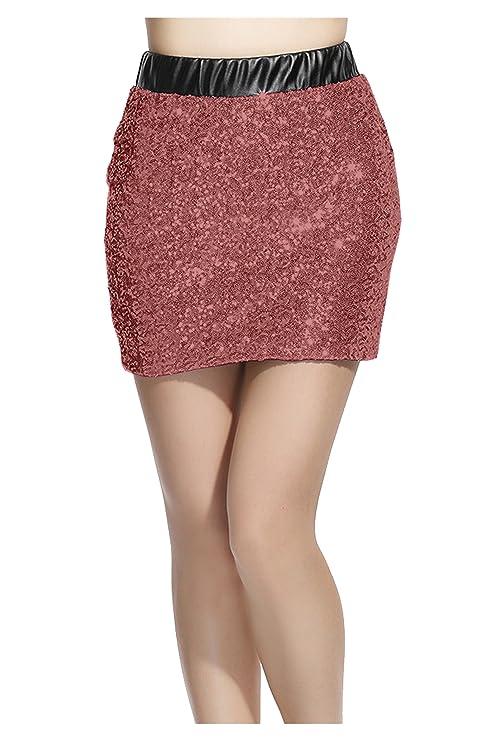 Falda de imitaicon de cuero tipo lápiz  - Faldas cortas de cuero para usar en fiestas.
