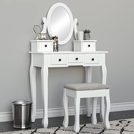 Best Choice Products White Vanity Table Set Jewelry Armoire Makeup