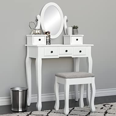 Best Choice Products Bedroom Makeup Cosmetic Beauty Vanity Hair Dressing Table Set w/ Adjustable Oval Mirror, Padded Stool Seat, 5 Drawer Storage Organizers - White