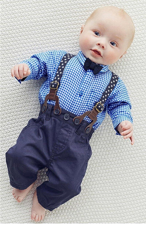 Amazon.com: Toddler Baby Boy Gentleman Bow Tie Long Sleeve Shirt+ ...