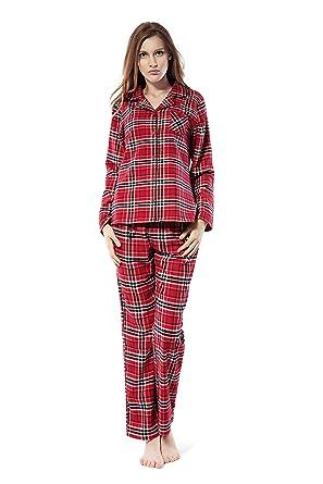 100% authentique en ligne ici liquidation à chaud Femmes Pyjamas Carreaux en Coton à Manches Longues Ensemble de Pyjamas  Boutons Flanelle Vêtements de Nuit