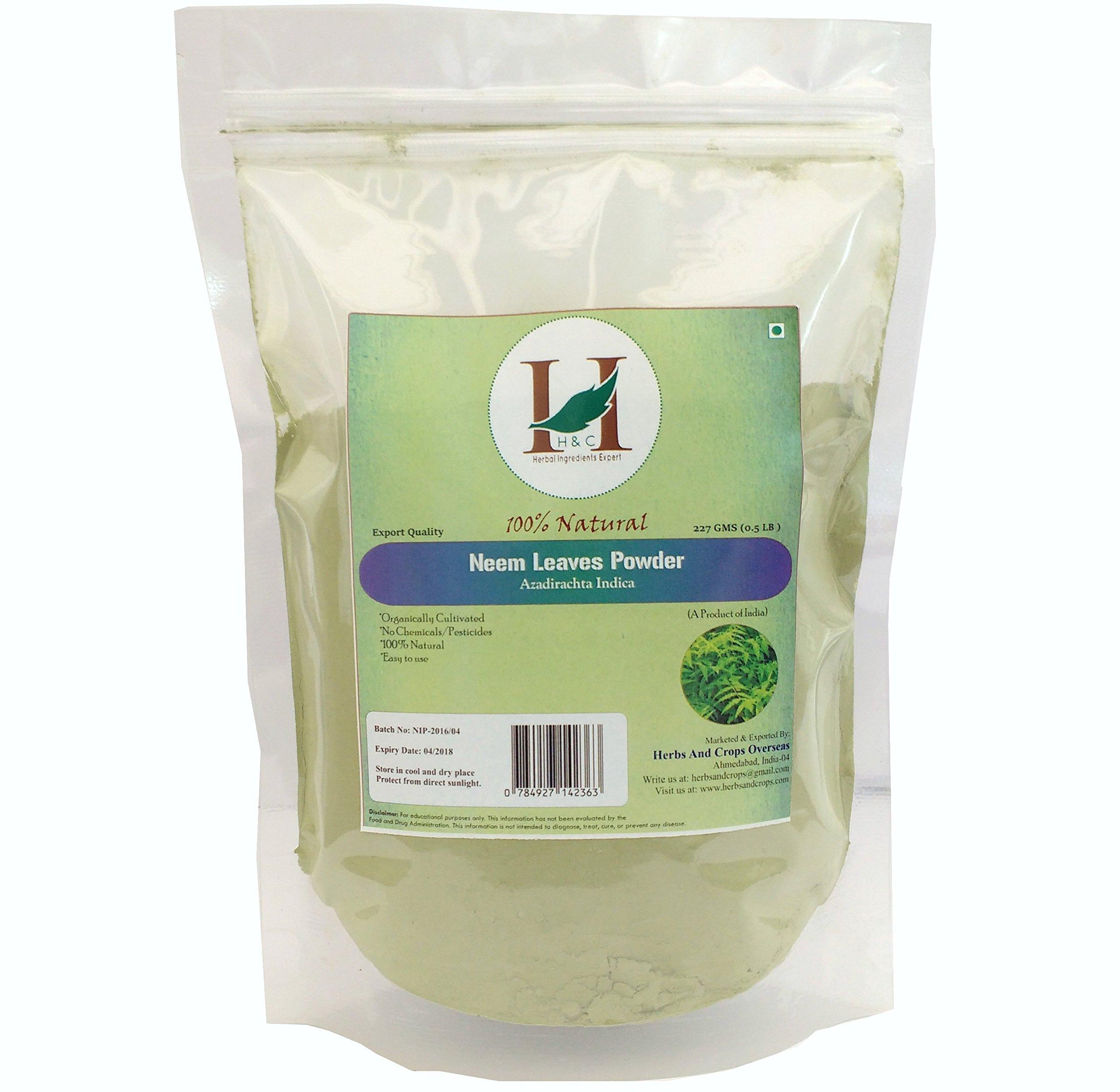 H&C Natural and Organically Grown Neem Leaves Powder, 227 Grams (1/2 lb)
