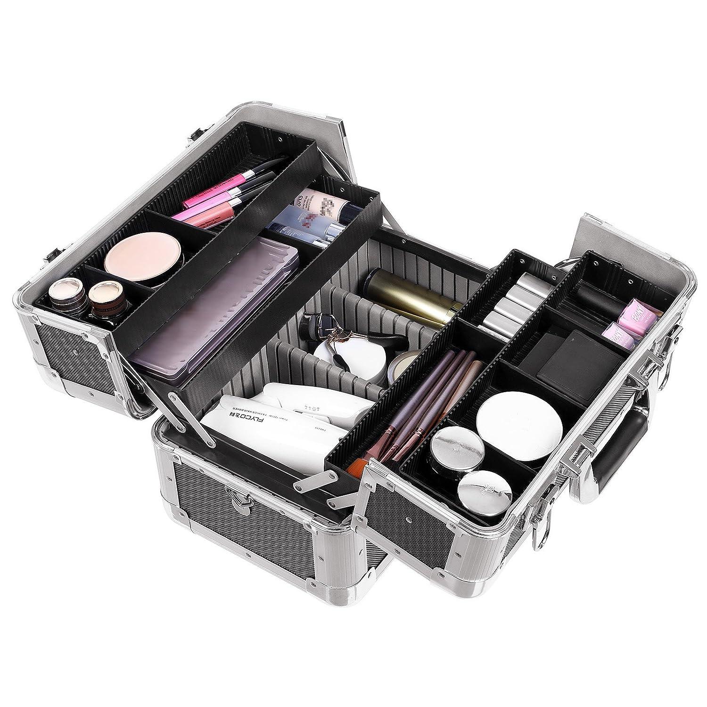 Schwarz JBC228 Songmics/® Kosmetikkoffer XXL gro/ß f/ür Gep/äck 36,5 x 22 x 25 cm Alu