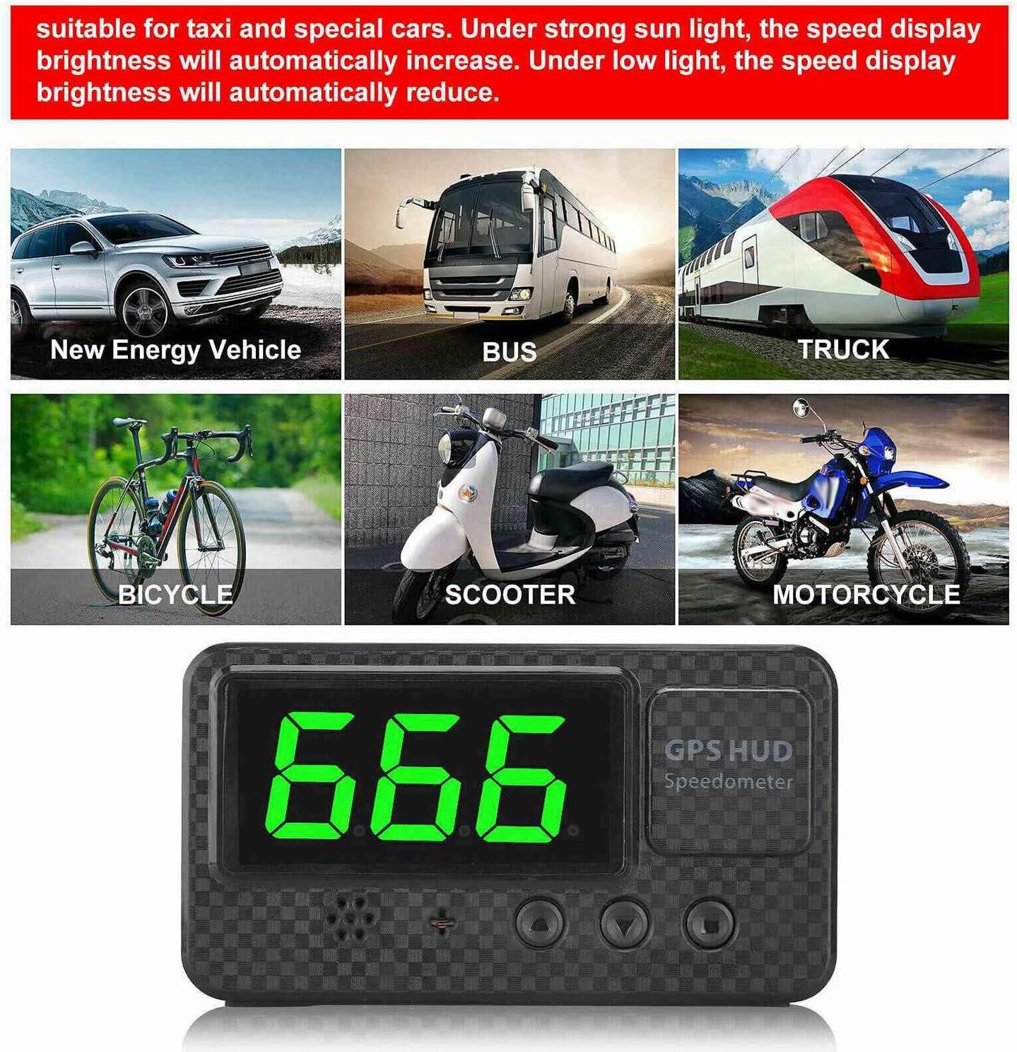 Nrpfell 3 Pouces Voiture Num/éRique GPS Compteur de Vitesse Affichage T/êTe Haute avec Exc/èS de Vitesse Alerte Alarme de Fatigue pour V/éHicule Camion Moto SUV