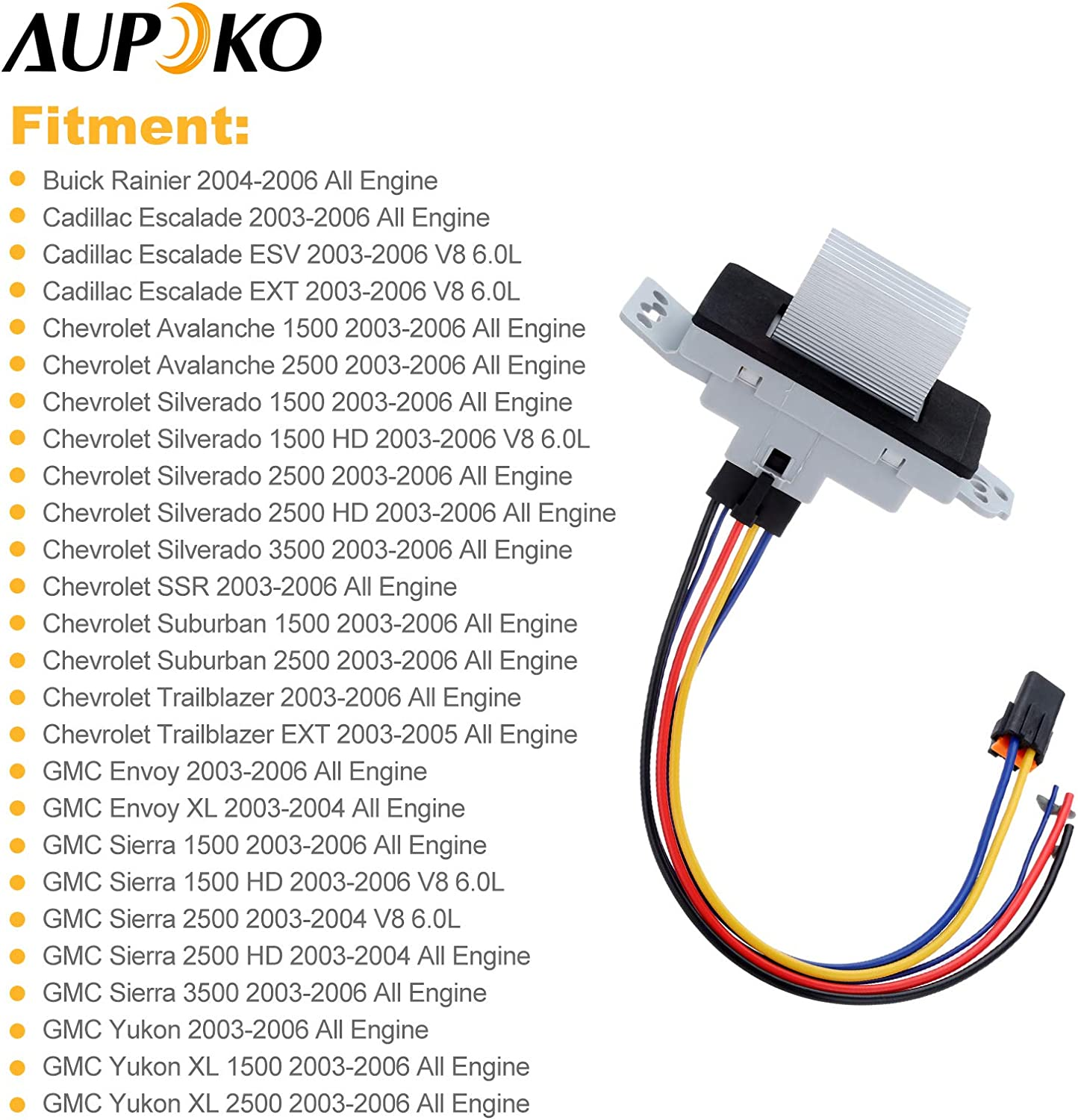 89019351,19260762,15-80567 AC Blower Motor Resistor Kit Replaces 15-81773 Fits for Buick Rainier Cadillac Chevrolet GMC Aupoko 89018778 Blower Motor Resistor Complete Kit with Harness 89019351