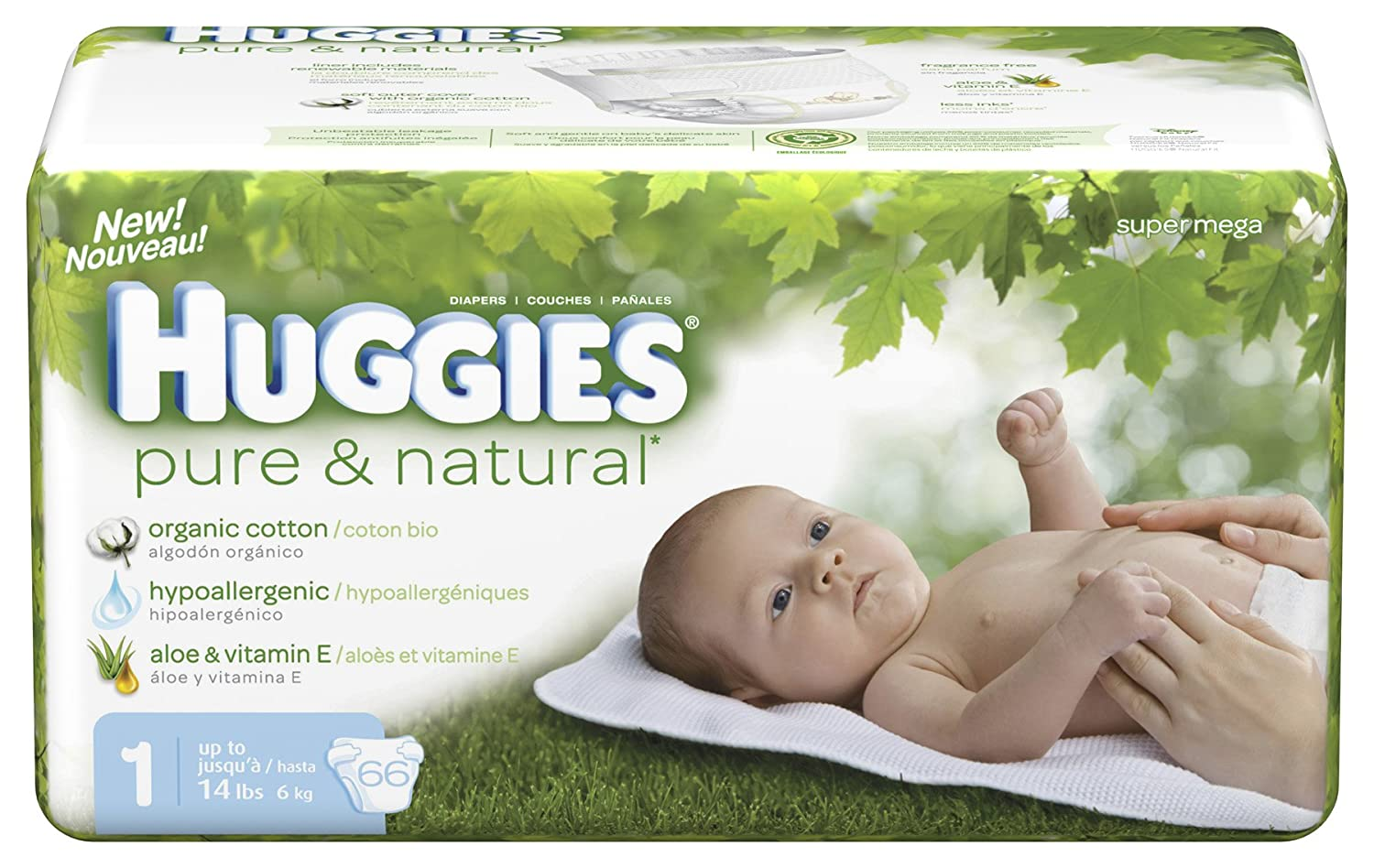 Amazon.com: Huggies Pure & Natural Diapers, Size 1, 66-Count (Pack of 2): Health & Personal Care