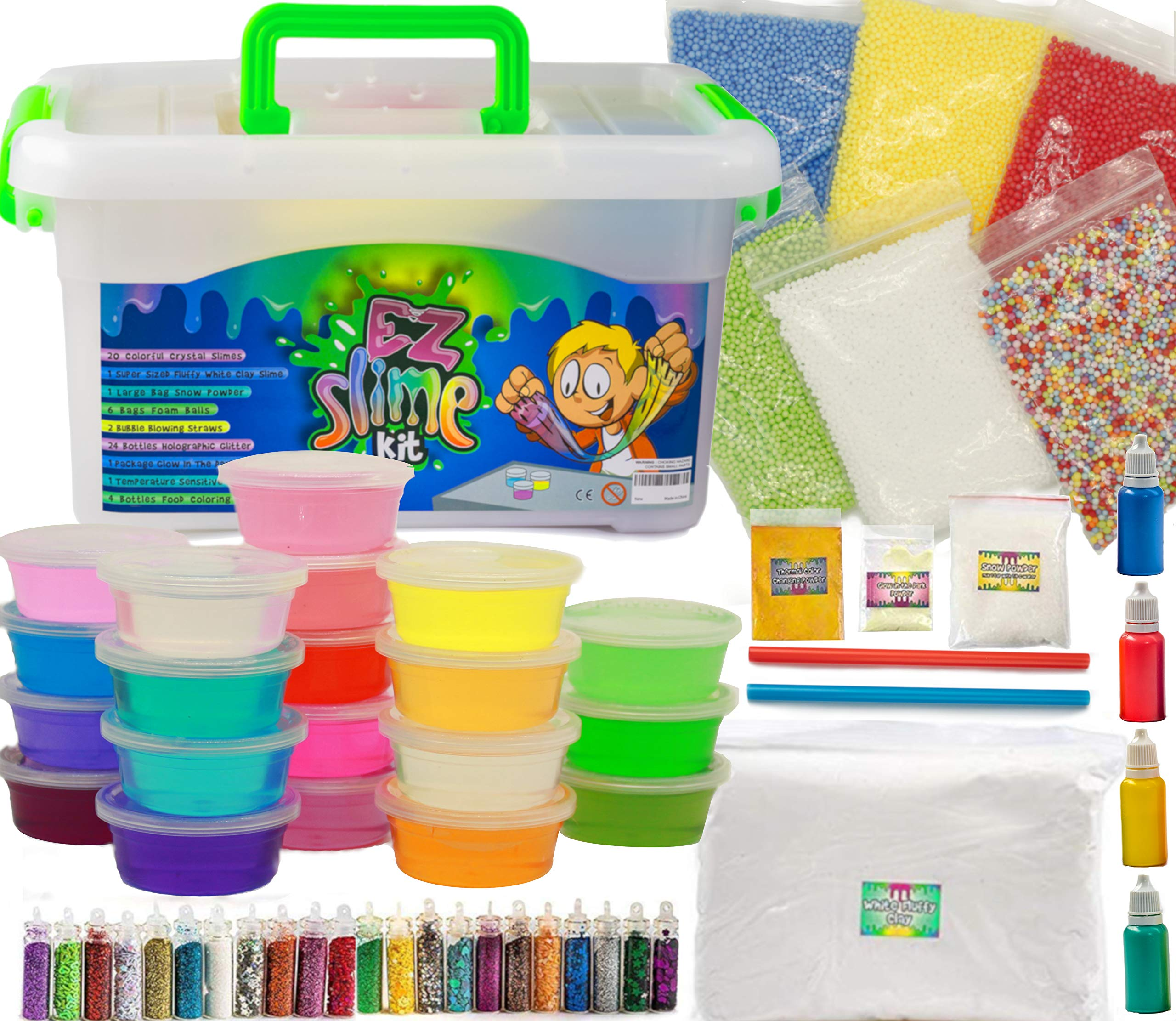 EZ Slime Kit- Boys Girls Everyone. Crystal Slime, Fluffy Clay Slime, Fake Snow, Glow Powder, Thermal Powder, Foam Beads, Glitter, Plus More. 60 Piece Kit. Over 3 Pounds by EZ Slime Kit