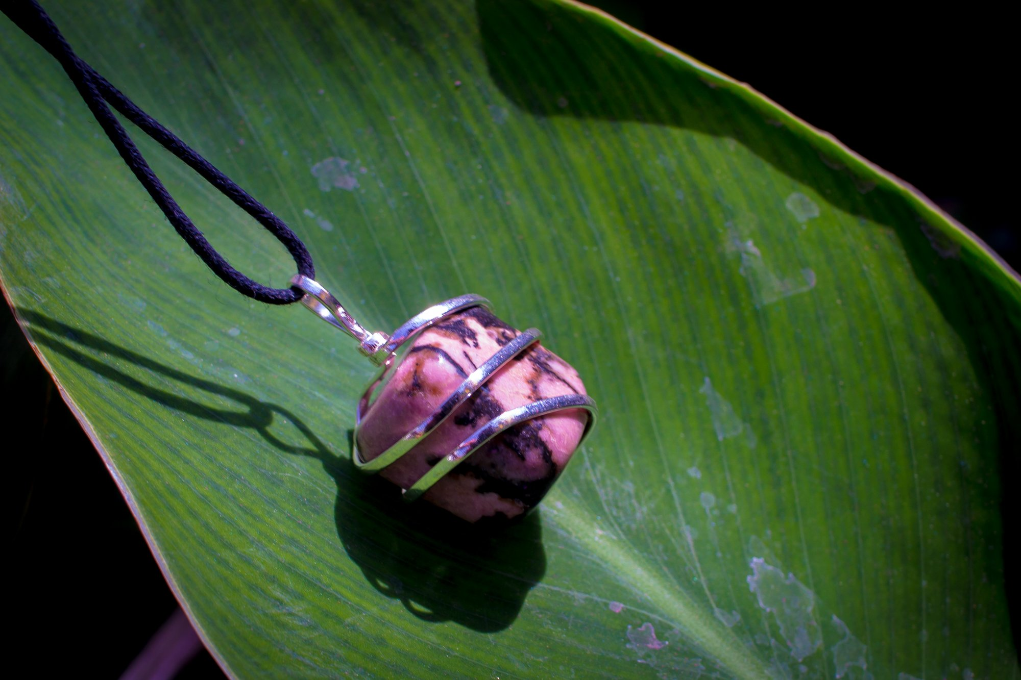 Rhodonite Crystal Pendant Necklace – Compassion Forgiveness Release of Fear Emotional Healing Heartbreak Relationships - Authentic Stone on Adjustable Length Cord - Real Gemstone Chakra Healing Charm by Ayana Wellness (Image #3)