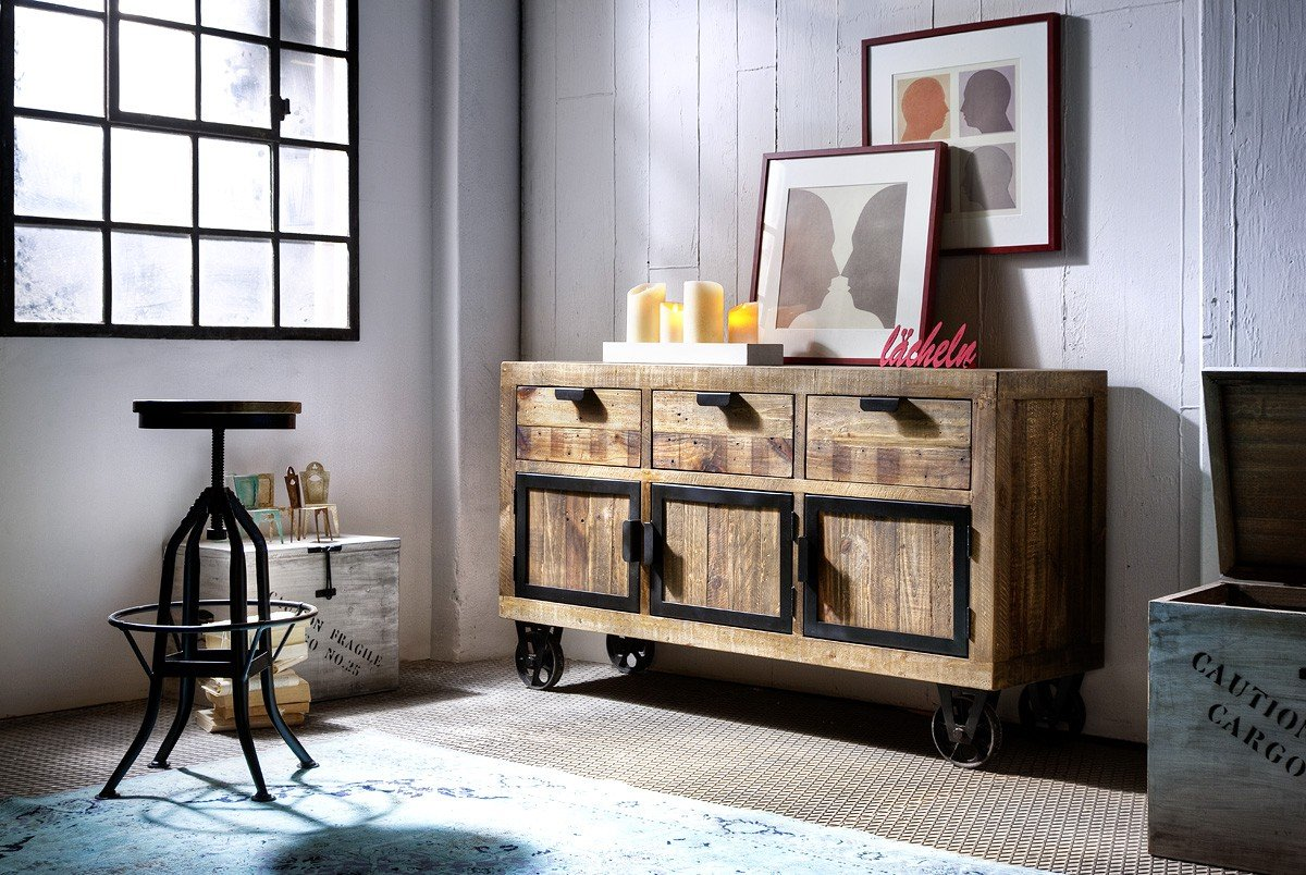Dreams4Home Sideboard \'Fin II\' Recycling Kiefer Antik braun lackiert ...