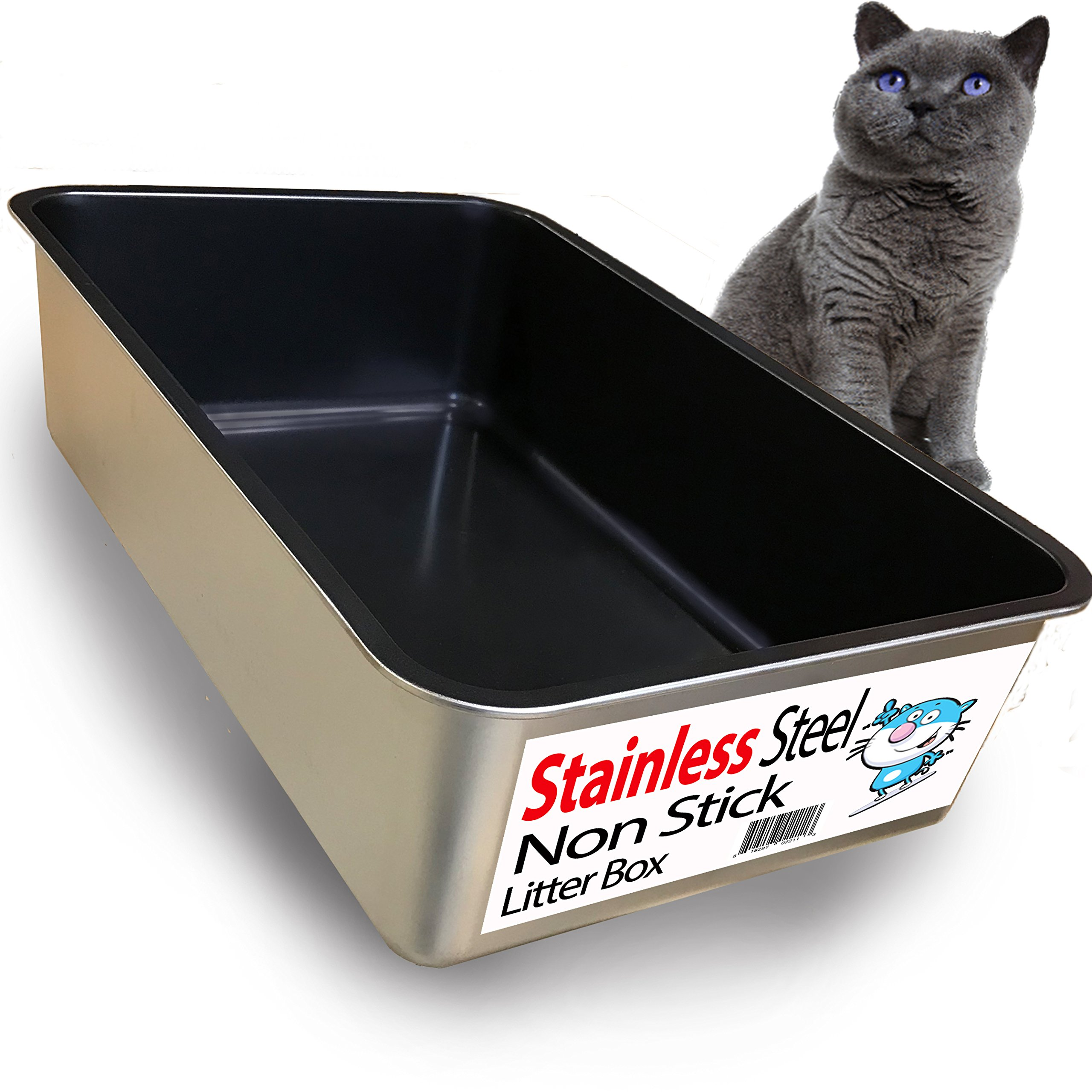 iPrimio Cat Litter Box Non-Stick Plated Stainless Steel XL Litter Pan - Odor and Rust Free - Easy to Clean & Designed by Cat Owners - No Residue Build up by iPrimio