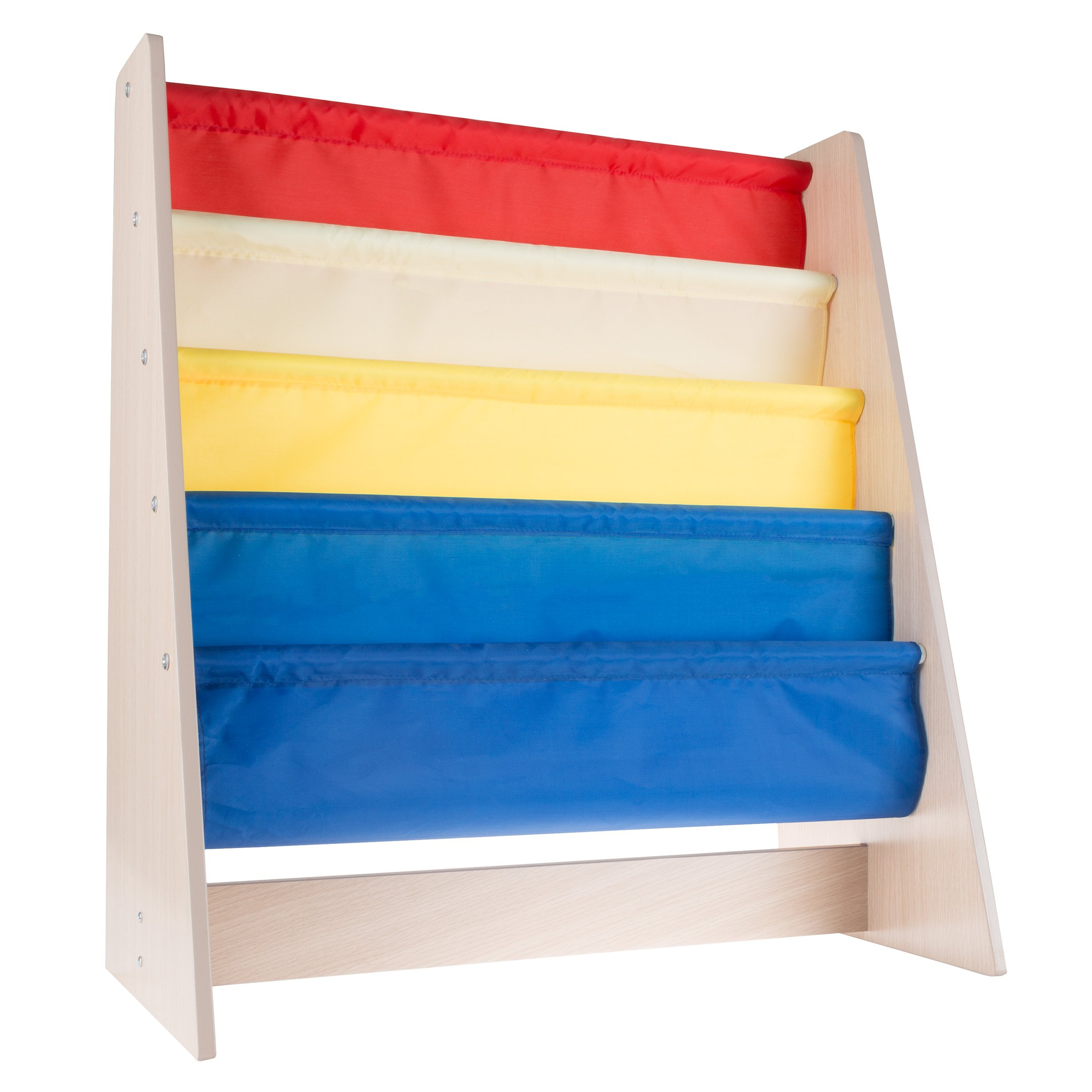Hey! Play! Kids Bookshelf Storage Rack with Colorful Fabric Sling Shelves Natural Wood Bookcase Organizer for Books for Toddlers, Children