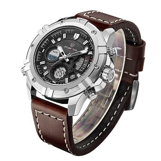 Reloj de cuarzo, deportivo, analógico y digital para hombre, correa de cuero,