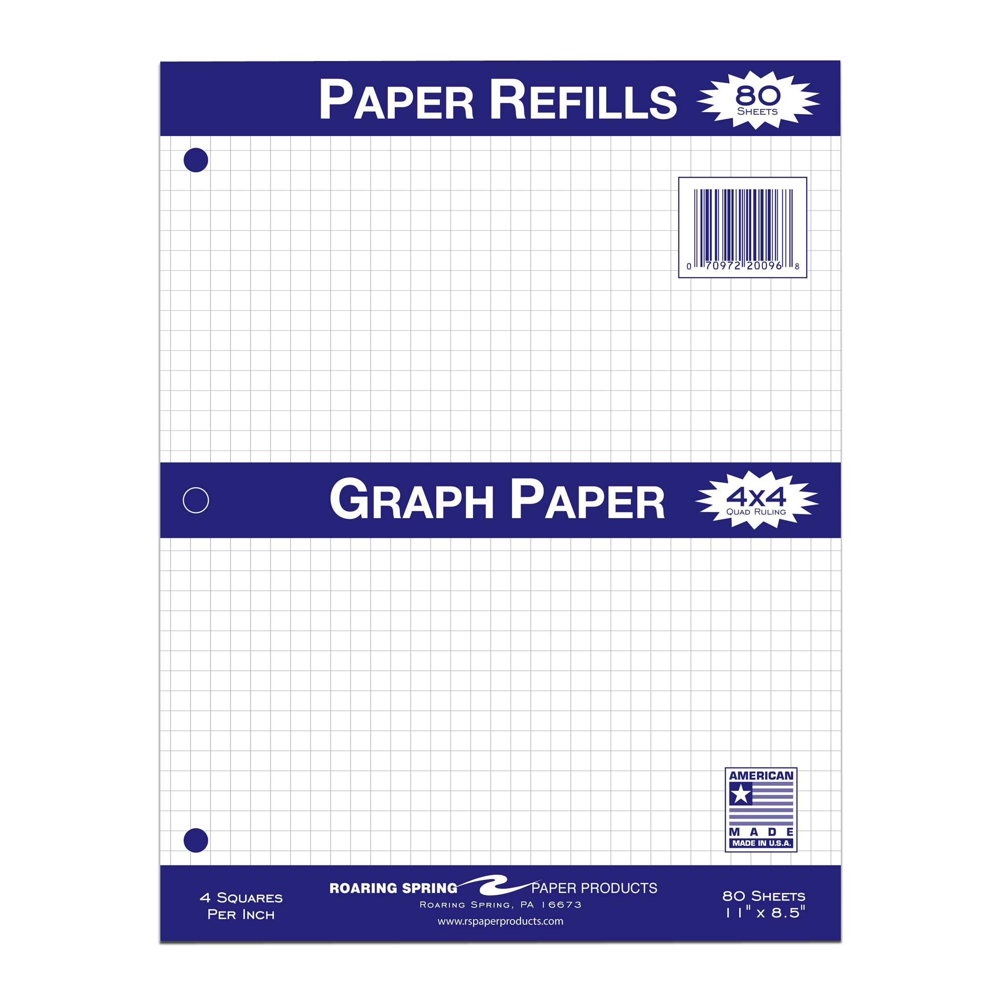 Roaring Spring Quad Filler Paper, 11'' x 8.5'', 4x4 Graph Ruled, 80 sheets