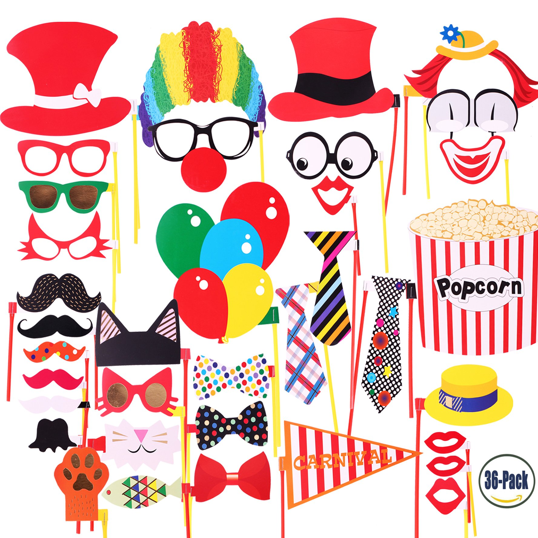 Attached Photo Booth Props, COOLOO Party Favors for Wedding Birthday Carnival Bachelorette Dress-up Acessories 36 Pcs, Costume with Mustache, Glasses, Cat, Clown, Bowler, Bowties on Plastic Sticks