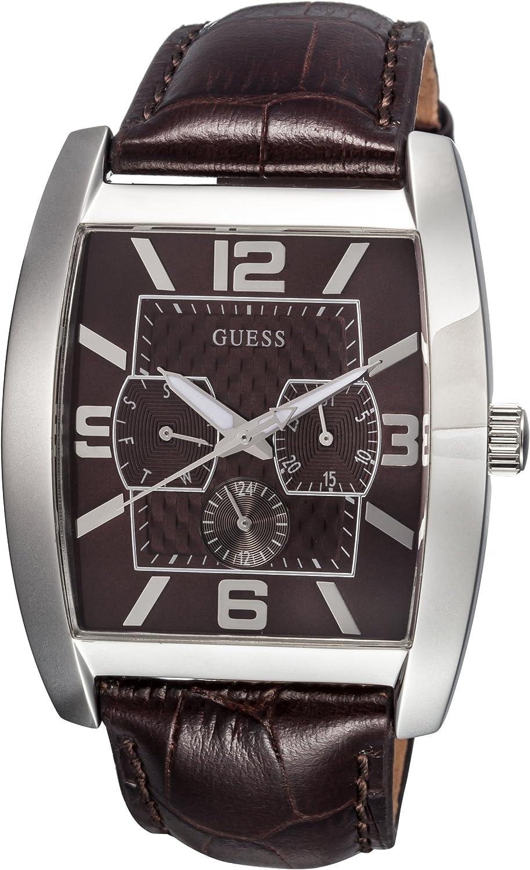 Guess Power Broker Dress Steel 80009G2 - Reloj de Caballero de Cuarzo, Correa de Piel Color marrón