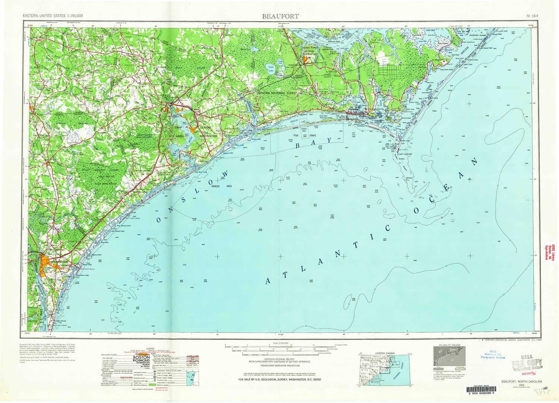 Amazon Com Yellowmaps Beaufort Nc Topo Map 1 250000 Scale 1 X 2