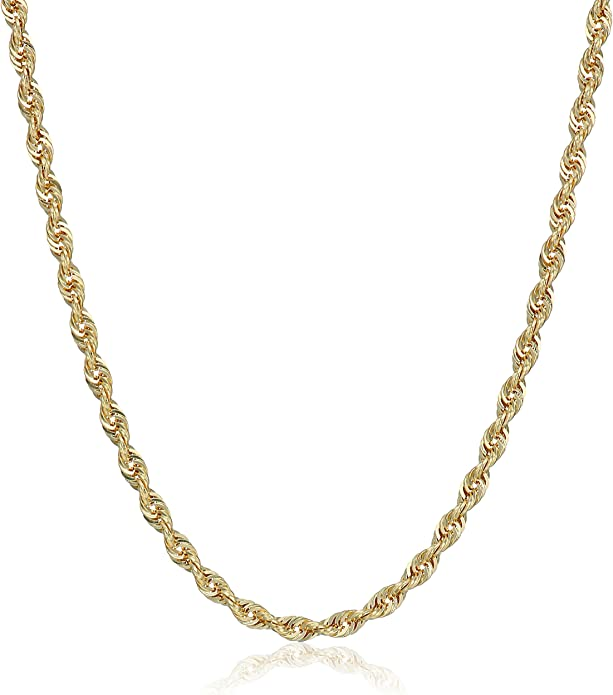 10k Yellow Gold 2 0mm Solid Diamond Cut Rope Chain Necklace 18 Amazon Com