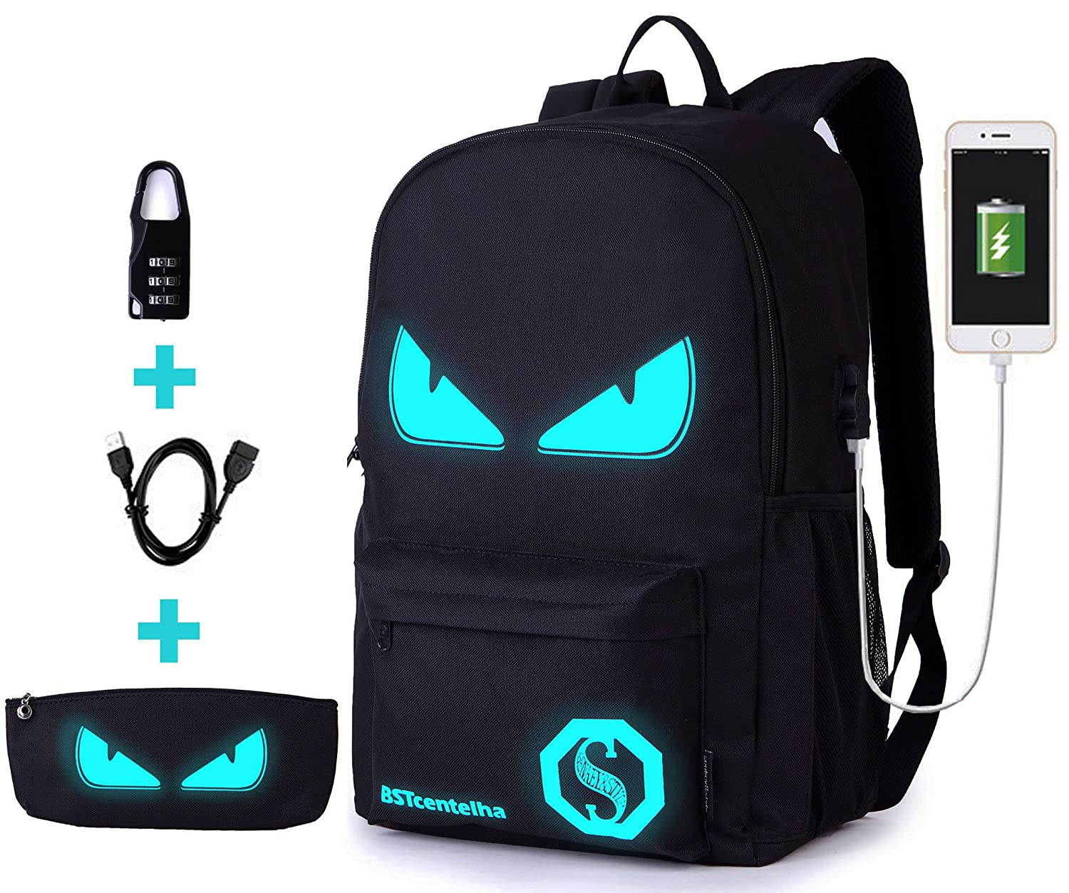 BSTcentelha Anime Luminous Shoulder Bag Lightweight with Laptop Compartments for Students Teens Boy Girl Book Laptop Travel Camping (L) AAAUS029B