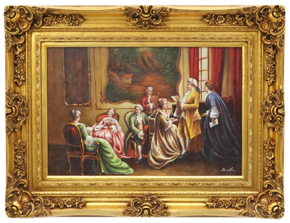 Casa Padrino Baroque Style Oil Painting Concert Iii Gold